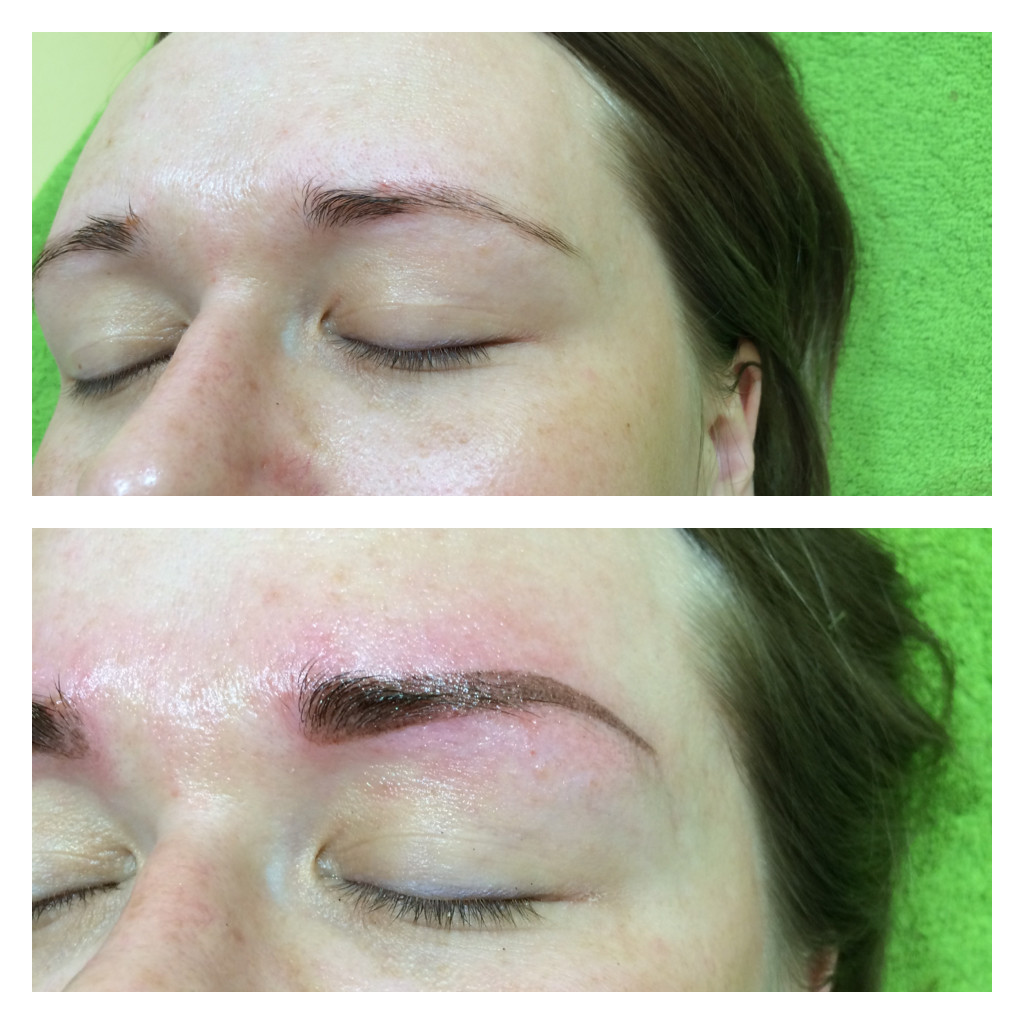 Татуаж брови до и сразу после процедуры